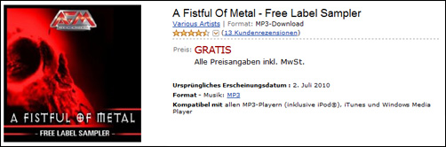 Amazon: Gratis MP3-Sampler: A Fistful Of - jetzt kostenlos downloaden.